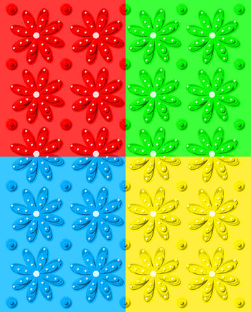 Background image shows daisy pattern in four colors; red, green, yellow and blue.  Image shows rows of daisies and dots. photo
