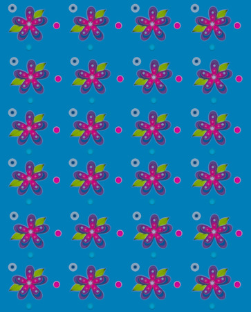 muted: Rows of flowers fill teal, background.  Blue and pink polka dots surround flowers. Edges of graphic are soft and muted. Stock Photo