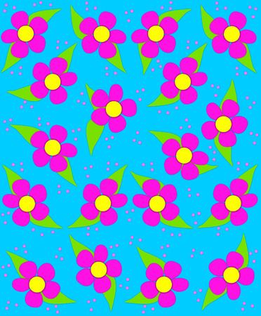 70s style flowers fill aqua, background image with splashes of pink, blue and purple.  Small and large polka dots fall like confetti in pink and yellow.