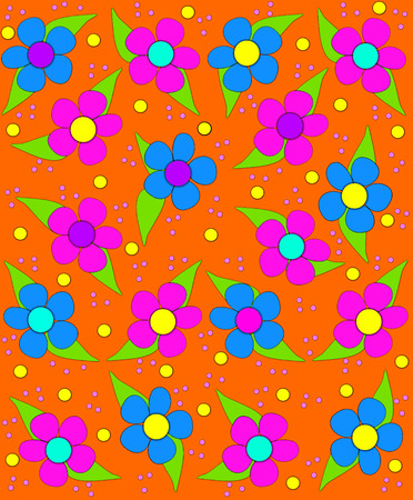 70s style flowers fill orange,background image with splashes of pink, blue and purple.  Small and large polka dots fall like confetti in pink and yellow.