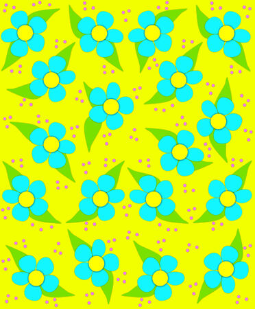 70s style flowers fill yellow background image with splashes of aqua blue.  Small polka dots fall like confetti in pink.