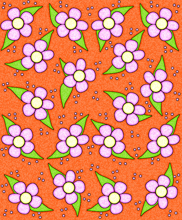 sponged: 70s style flowers fill orange background. Flowers are highlighted with soft white glow.  Entire image has sponged texture.