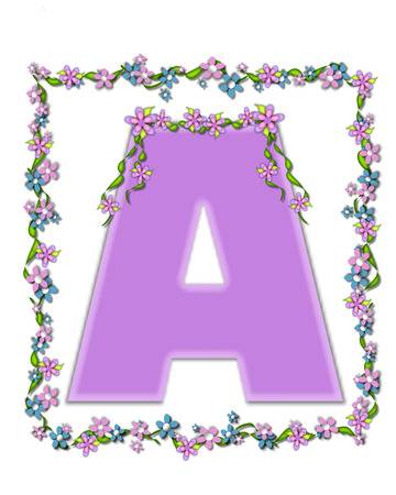 The letter , in the alphabet set Daisy Fair Lilac is a soft pastel shade of lilac.  Garland of ivy and flowers covers outline of letter and small chains of flowers hang from letter.
