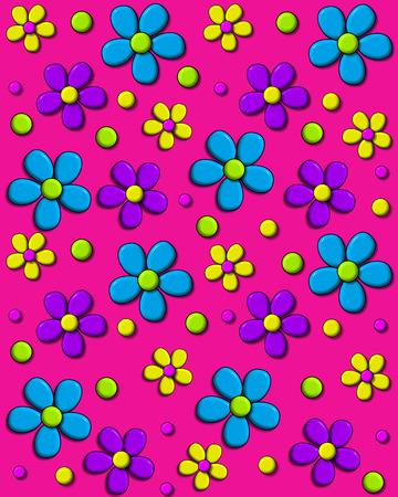 배경 이미지는 핫 핑크와 보라색과 노란색 아쿠아에서 70 년대 스타일의 데이지에 덮여있다. 도트 무늬는 꽃 사이에 입력하십시오. 스톡 콘텐츠