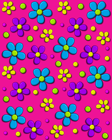 Background image is hot pink and covered in 70s style daisies in aqua, purple and yellow.  Polka dots fill in between flowers.