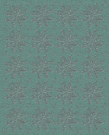 Background image is mint green with rows of stamped white daisies and polka dots.  Image is cracked and textured. photo