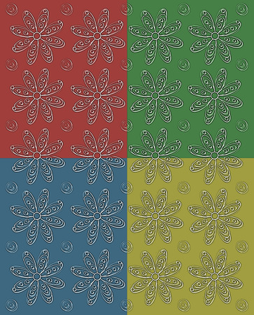 Background image has four fall color squares.  Each square is filled with stamped rows of white daisies and polka dots.   Stock Photo