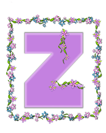 The letter Z, in the alphabet set  Daisy Fair Lilac  is a soft pastel shade of lilac   Garland of ivy and flowers covers outline of letter and small chains of flowers hang from letter