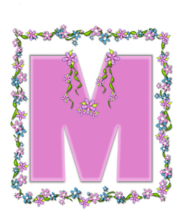 The letter M, in the alphabet set  Daisy Fair Pink  is a soft pastel shade of lilac   Garland of ivy and flowers covers outline of letter and smaller chain of flowers drape letter  photo