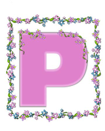 アルファベットの P セット デイジー公正なピンク文字は文字のアイビーや花のカバー概要や花ドレープ状の小さいチェーンのライラックのガーラン