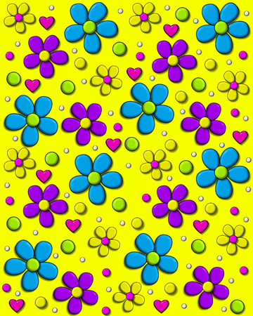shadowed: Background image is bright yellow and covered in 70s style daisies in aqua, purple and yellow.  Polka dots and hearts fill in between flowers. Stock Photo