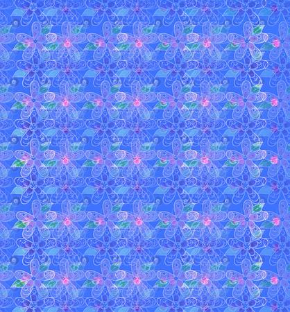Soft Semi Transparent Flowers Spill Across A Blue Background