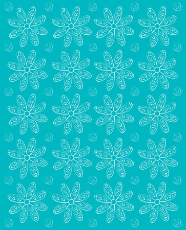 shadowed: Background image is aqua and stamped rows of white daisies.  Whispy polka dots fill space between flowers. Stock Photo