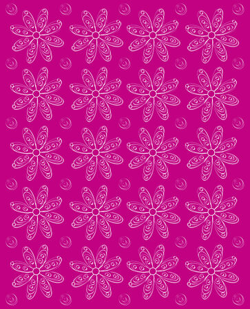 shadowed: Background image is dusky pink and stamped rows of white daisies.  Whispy polka dots fill space between flowers.