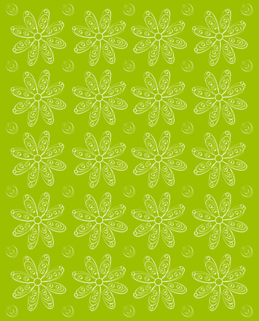 stamped: Background image is olive green and stamped rows of white daisies.  Whispy polka dots fill space between flowers.