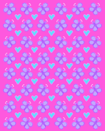 Rows of butterflies and gearts fill image. Butterfly has white crown.  Background is bright pink. Stock Photo