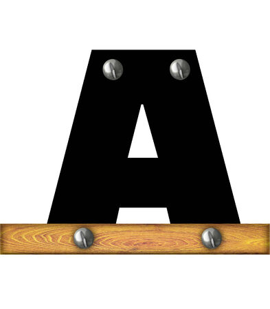 The letter A, in the alphabet set Alphabet Building, is black and riveted with silver screws to a wooden board. Stock fotó