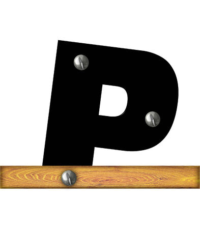 The letter P, in the alphabet set Alphabet Building, is black and riveted with silver screws to a wooden board.