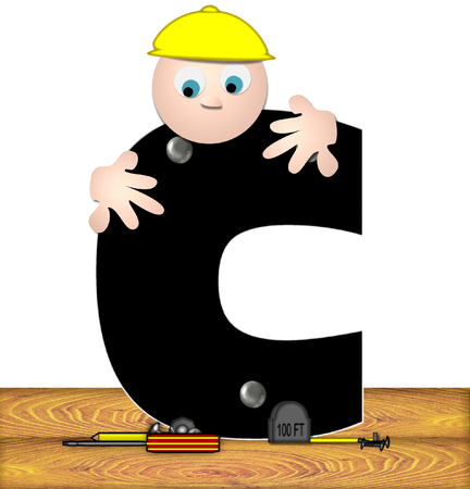 letter c: The letter C, in the alphabet set Construction Worker, is black with silver nails embedded in letter.  Construction worker bends over inspecting letter.  Tools sit beside letter on wooden planks. Stock Photo
