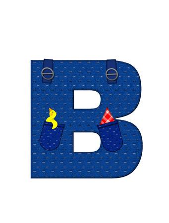 B、アルファベットで「農民ブラウン」を設定された文字はストラップ、ポケット付きデニムです。 市松模様のハンカチをポケットからピークします 写真素材