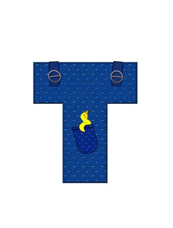 T、アルファベットで「農民ブラウン」を設定された文字はストラップ、ポケット付きデニムです。 市松模様のハンカチをポケットからピークします