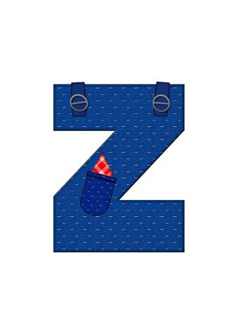 Z、アルファベットで「農民ブラウン」を設定された文字はストラップ、ポケット付きデニムです。 市松模様のハンカチをポケットからピークします