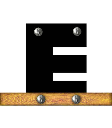 The letter E, in the alphabet set Alphabet Building, is black and riveted with silver screws to a wooden board. photo