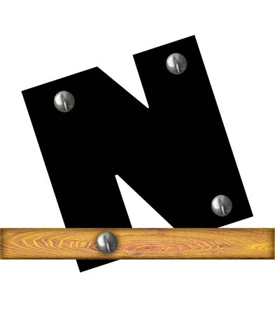The letter N, in the alphabet set Alphabet Building, is black and riveted with silver screws to a wooden board.