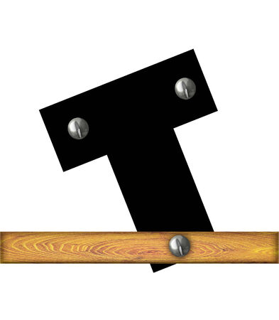 The letter T, in the alphabet set Alphabet Building, is black and riveted with silver screws to a wooden board.