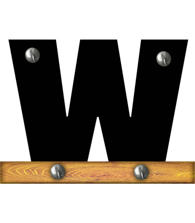 The letter W, in the alphabet set Alphabet Building, is black and riveted with silver screws to a wooden board.