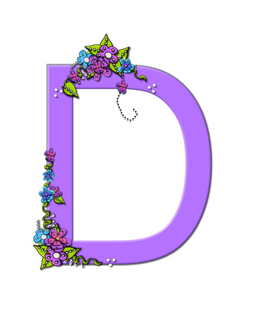 The soft, lilac letter D, in the alphabet set