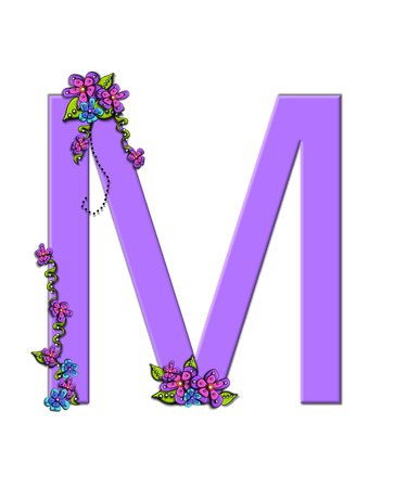 The soft, lilac letter M, in the alphabet set Burst of Spring Lilac is decorated with bouquets of 3D flowers, with dots in white and black and vines of green.