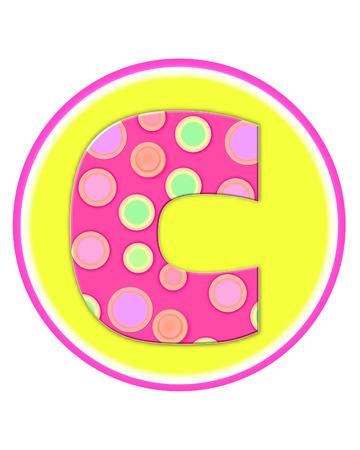 letter c: The letter C, in the alphabet set Circle Party is decorated with polka dots in pink, green and orange.  Letter sits on a two color circle of yellow and pink. Stock Photo