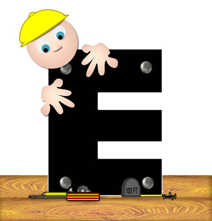 The letter E, in the alphabet set Construction Worker, is black with silver nails embedded in letter.  Construction worker bends over inspecting letter.  Tools sit beside letter on wooden planks. photo