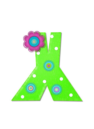 The letter X, in the alphabet set Hippy Power is bright green and decorated with polka dots and 70s style, circles.  Pink and blue daisy decorates side of letter. photo
