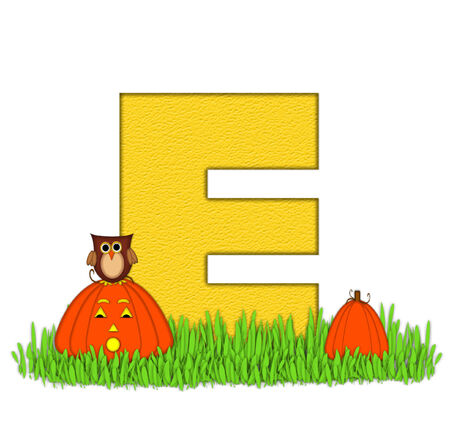 pumpkin patch: The letter E, in the alphabet set Pumpkin Patch  is  a yellow and and sits in the green grass of a pumpkin patch.  Two orange pumpkins and an owl decorate letter.
