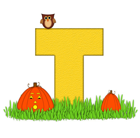 pumpkin patch: The letter T, in the alphabet set Pumpkin Patch  is  a yellow and and sits in the green grass of a pumpkin patch.  Two orange pumpkins and an owl decorate letter.