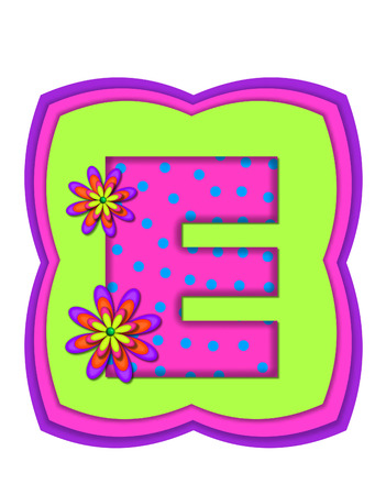 The letter E, in the alphabet set Daisy Daze, is colored in vivid pink with teal polka dots.  It is decorated with four layered daisies.  All sit on a pillow of neon green, hot pink and purple.