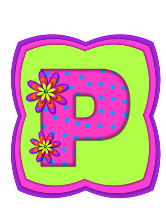 four p: The letter P, in the alphabet set Daisy Daze, is colored in vivid pink with teal polka dots.  It is decorated with four layered daisies.  All sit on a pillow of neon green, hot pink and purple.