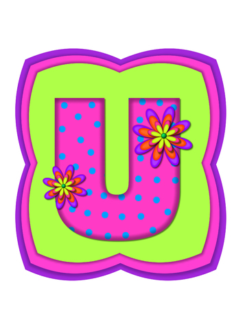 The letter U, in the alphabet set Daisy Daze, is colored in vivid pink with teal polka dots.  It is decorated with four layered daisies.  All sit on a pillow of neon green, hot pink and purple.