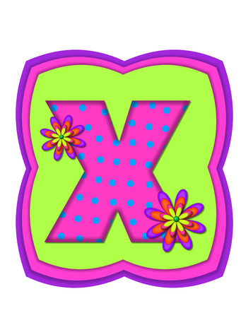 The letter X, in the alphabet set Daisy Daze, is colored in vivid pink with teal polka dots.  It is decorated with four layered daisies.  All sit on a pillow of neon green, hot pink and purple. photo