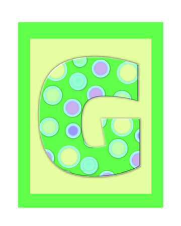 g spot: The letter G, in the alphabet set Soft Spot  is bright green and decorated with polka dots.  Yellow and Green Squares serve as background.