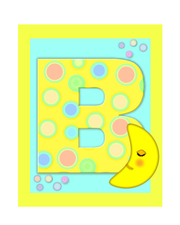 The letter B, in the alphabet set Sweet Dreams  is  a soft yellow and and decorated with polka dots and sleepy moon.  Yellow and aqua squares serve as background.