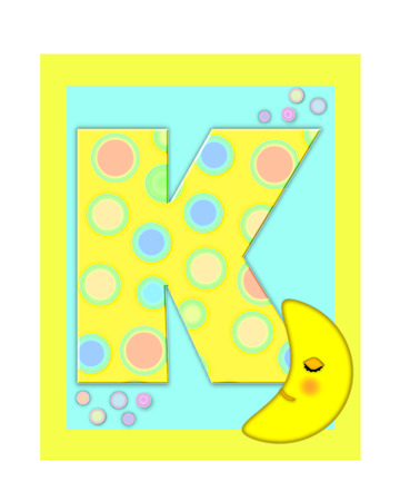 The letter K, in the alphabet set Sweet Dreams  is  a soft yellow and and decorated with polka dots and sleepy moon.  Yellow and aqua squares serve as background.