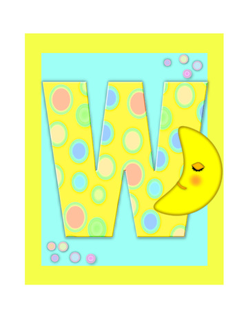 The letter W, in the alphabet set Sweet Dreams  is  a soft yellow and and decorated with polka dots and sleepy moon.  Yellow and aqua squares serve as background. Stock Photo