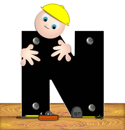 male symbol: The letter N, in the alphabet set Construction Worker, is black with silver nails embedded in letter.  Construction worker bends over inspecting letter.  Tools sit beside letter on wooden planks.