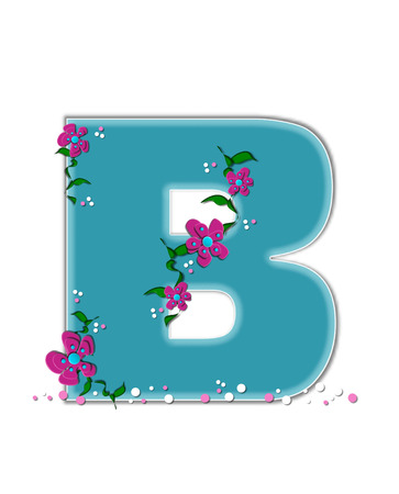 The letter B, in the alphabet set Fairy Tale Garden, is aqua and decorated with 3D flowers, vines and confetti.