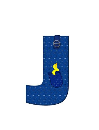 J、アルファベットで「農民ブラウン」を設定された文字はストラップ、ポケット付きデニムです。 市松模様のハンカチをポケットからピークします 写真素材