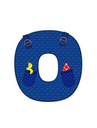 アルファベットの O の文字は「農家ブラウン」を設定、ストラップ、ポケット付きデニムです。 市松模様のハンカチをポケットからピークします。 写真素材