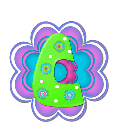 The letter C, in the alphabet set Hippy Power is bright green and decorated with polka dots and 70s style, circles.  Pink and blue daisy decorates back of letter. photo